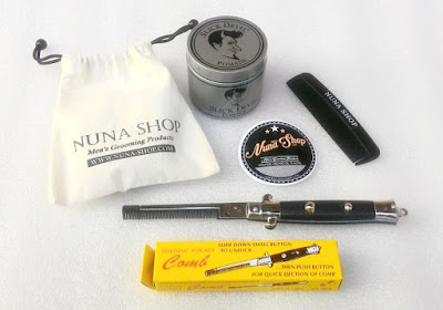 Paket Hemat Pomade Slick Devil Medium Hold + Switchblade Comb (SB) + Pouch + Stiker + Sisir Saku