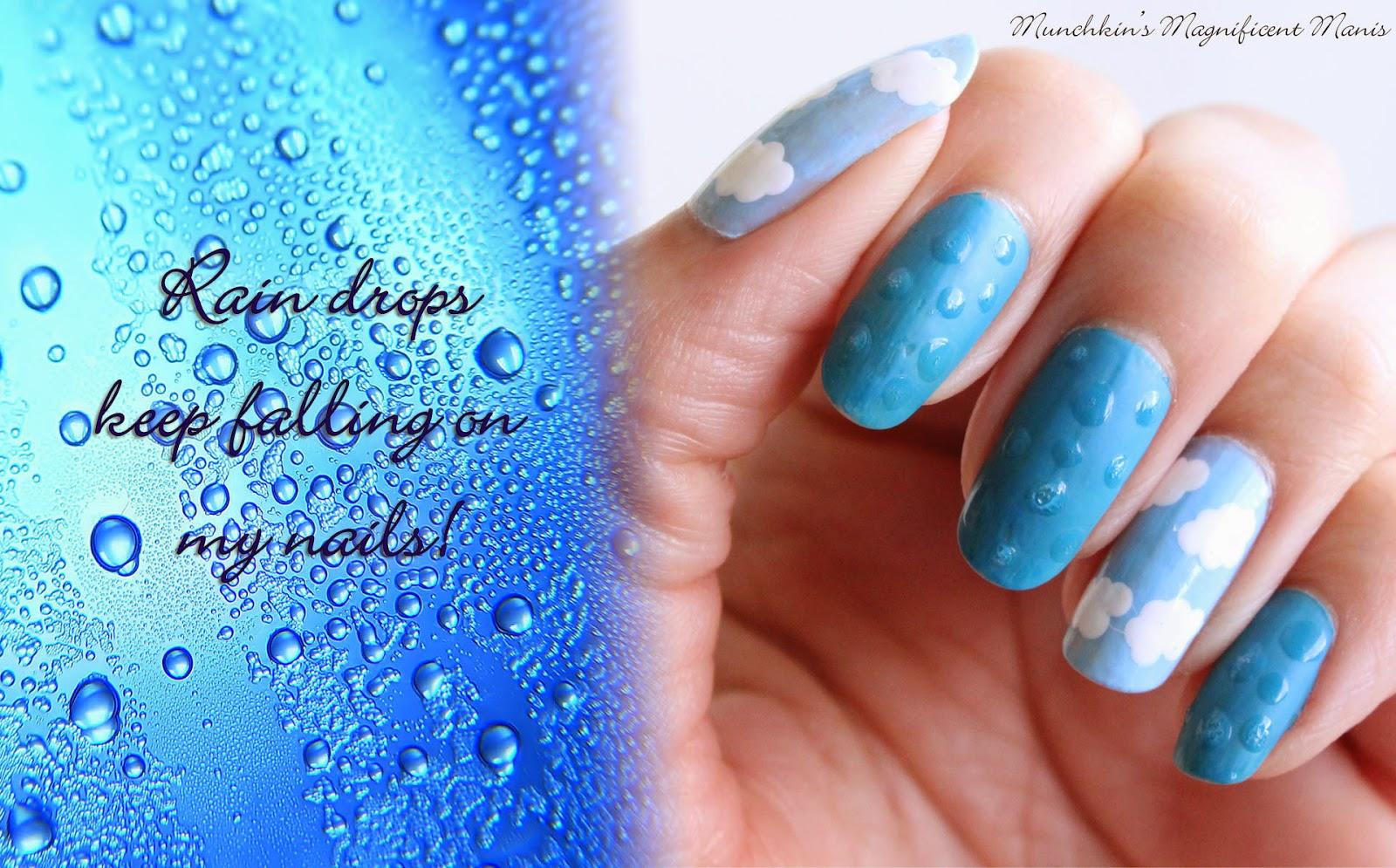 Rain drop and clouds nail design
