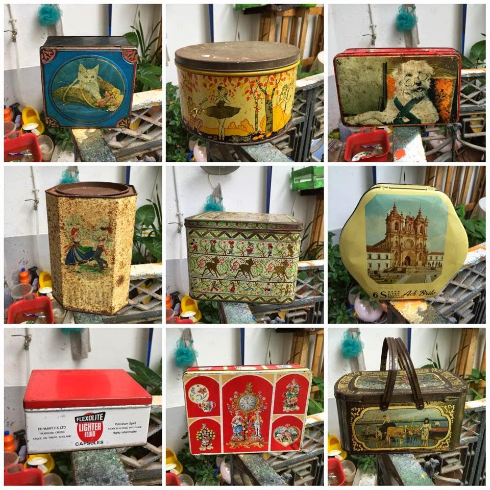 vintage, interior, decoração, latas, colecção, decoração vintage