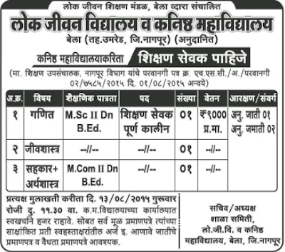 Lok Jivan School & Jr. College Recruitment 2015