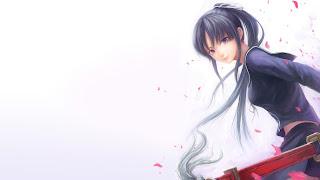 Girl Sword Petals Shape HD Wallpaper