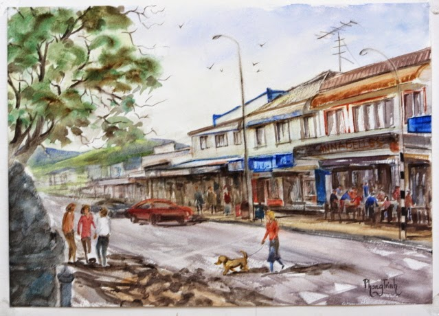Wonderful Watercolor Outdoor Painting of  St Heliers, Auckland Historic Seaside village 29.5x42cm, Original Fine Art Available for Sale