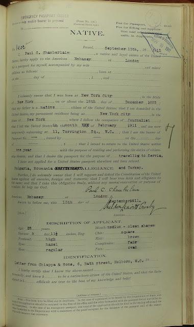 U. S, Passport Applications, 1795 - 1925