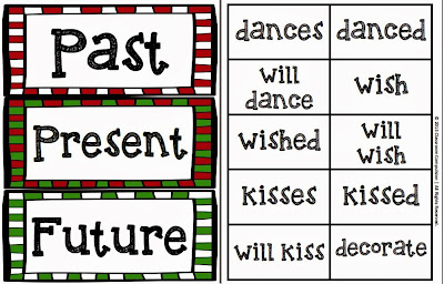 http://www.teacherspayteachers.com/Product/FREE-Christmas-Past-Present-Future-Tense-Sort-Activity-1011940