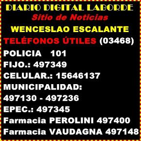 TELÉFONOS ÚTILES W.ESCALANTE