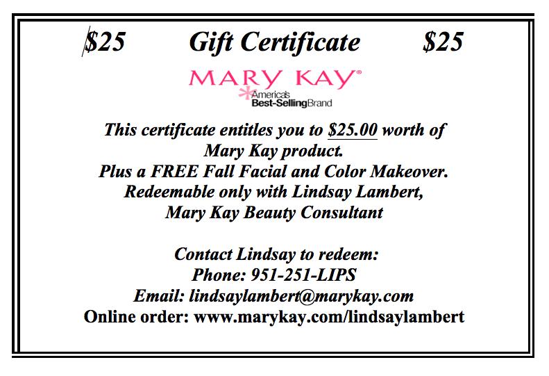 Mary Kay Gift Certificate Template Costumepartyrun