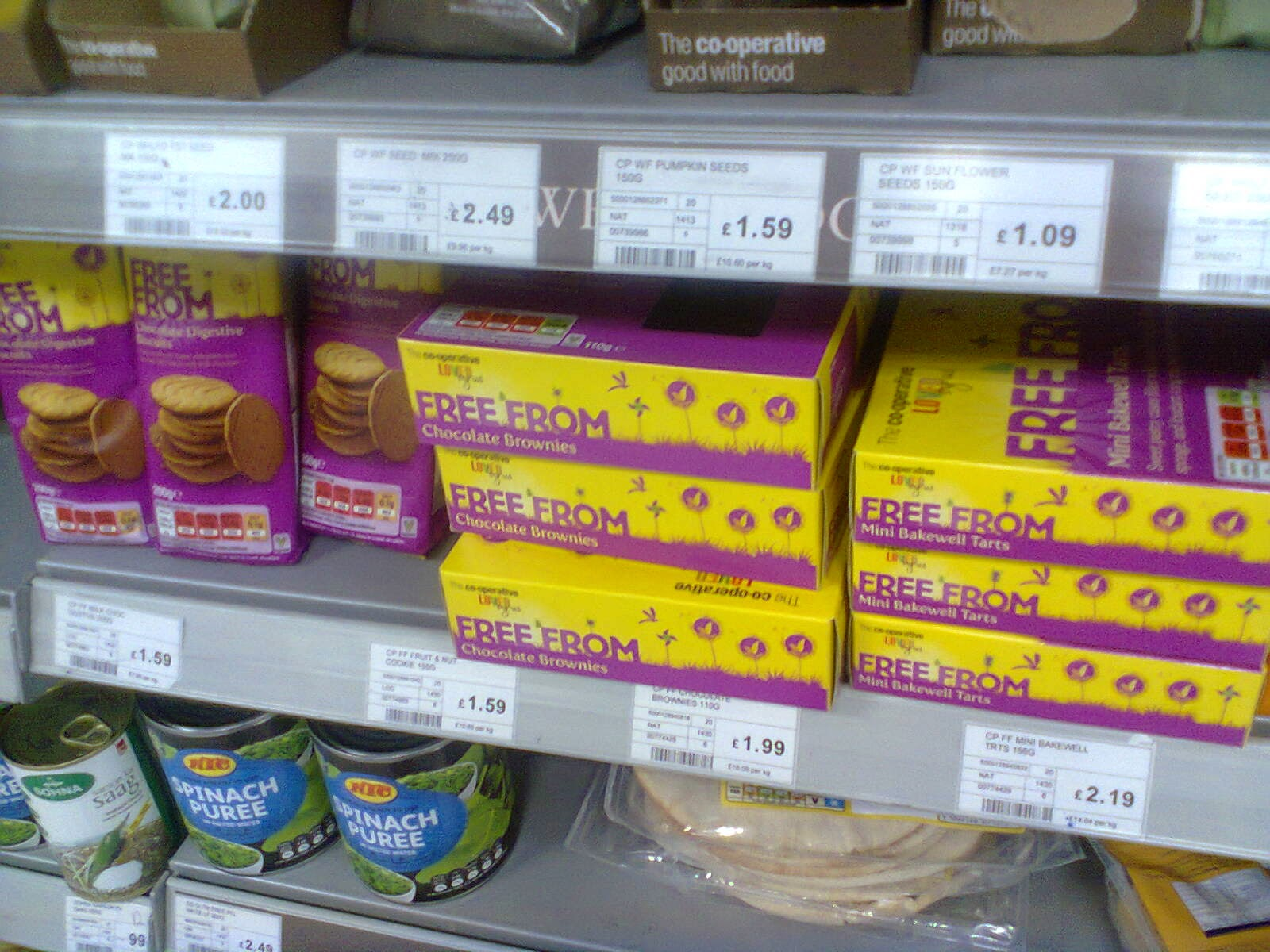 Three of the newly re-branded Free From products at the Co-operative