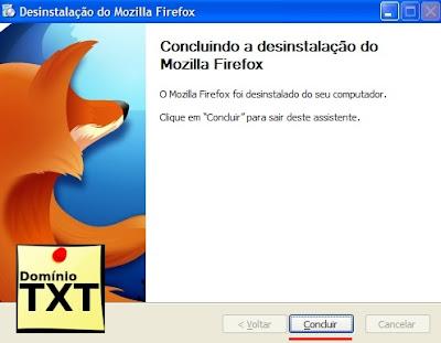DominioTXT - Desinstalação Mozilla Concluida