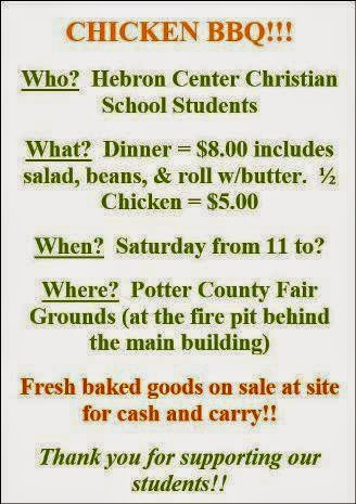 10-25 Chicken BBQ For Hebron School