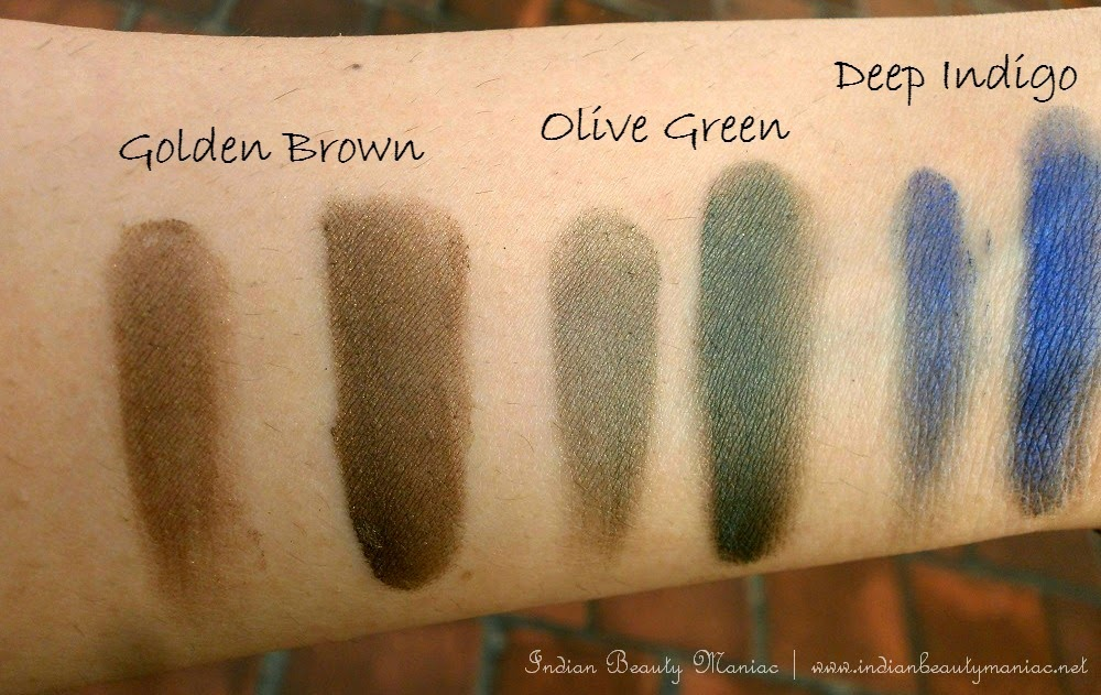 The ONE Colour Impact Cream Eye Shadows Golden Brown, Olive Green, deep indigo, cream eyeshadows in India, affordable eyeshadows, oriflame in india, indian beauty blogger, review, swatches
