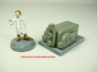 Small scale power generator designed for 25-28mm war games and role-playing games - type 4 - rear view.