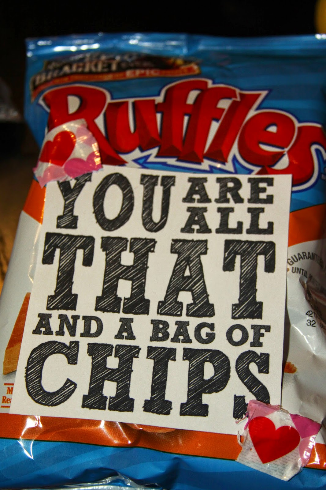 photo regarding You're All That and a Bag of Chips Printable known as For the Get pleasure from of Foodstuff: Enjoyment Previous Second Foodie Valentines