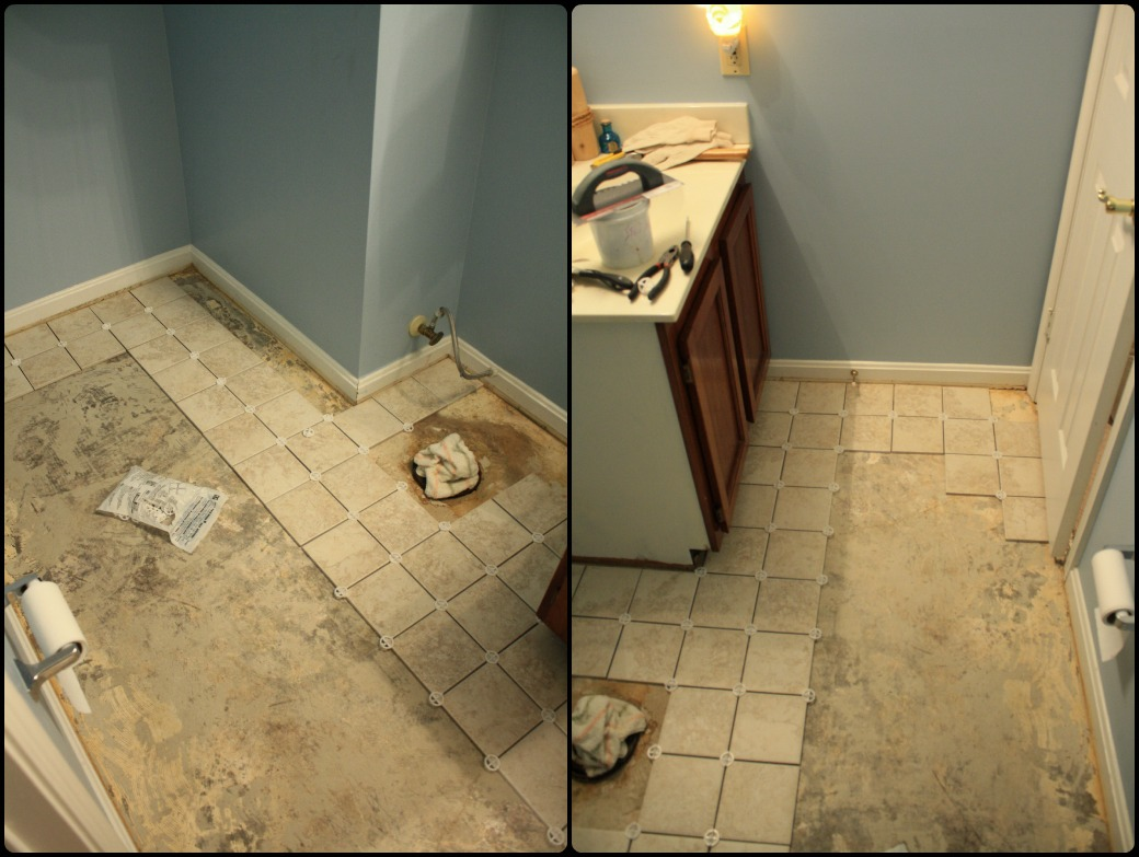 Simply diy 2 bathroom floor part 1 before grout for Simply bathrooms