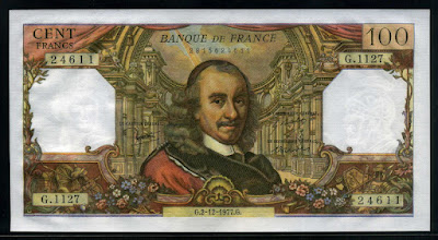 French money currency banknote 100 Francs