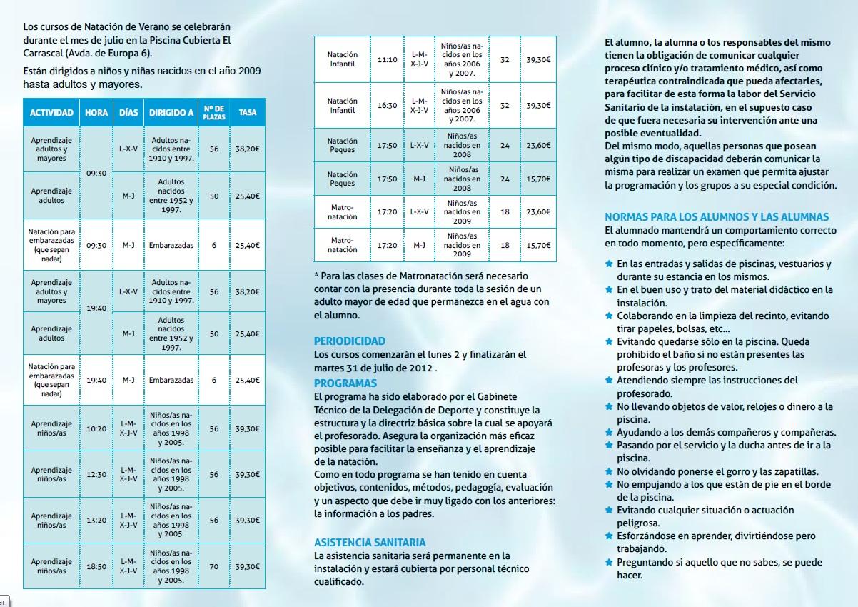 Deportes oferta cursos de nataci n en verano en el for Piscina olimpia vignola telefono