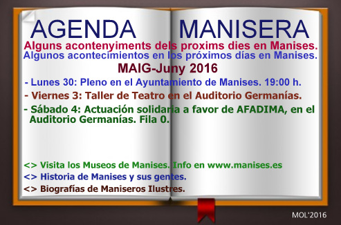 AGENDA MANISERA, SEMANA 22 DE 2016