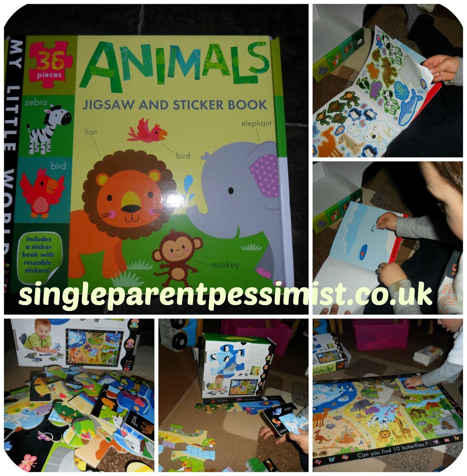 little tiger kids animal jigsaw and sticker book