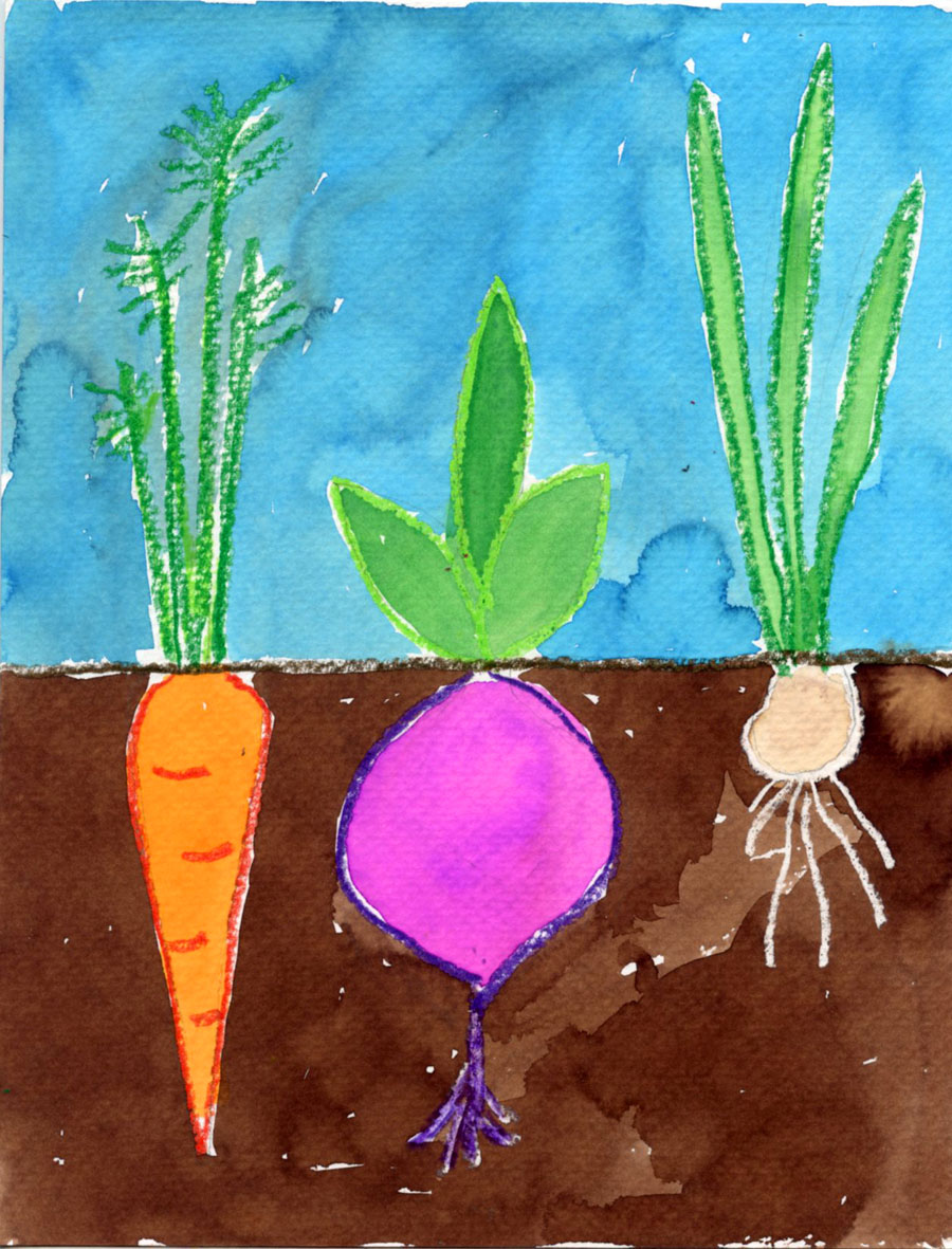 vegetable garden watercolor painting art projects  kids