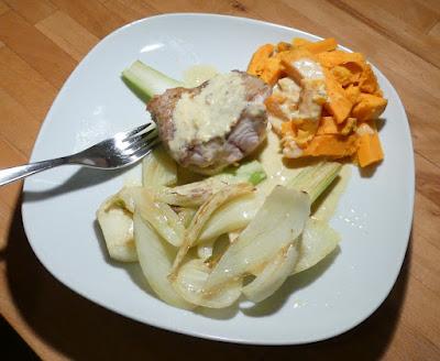 Waller mit Fenchel, Süßkartoffeln und Weißweinsauce
