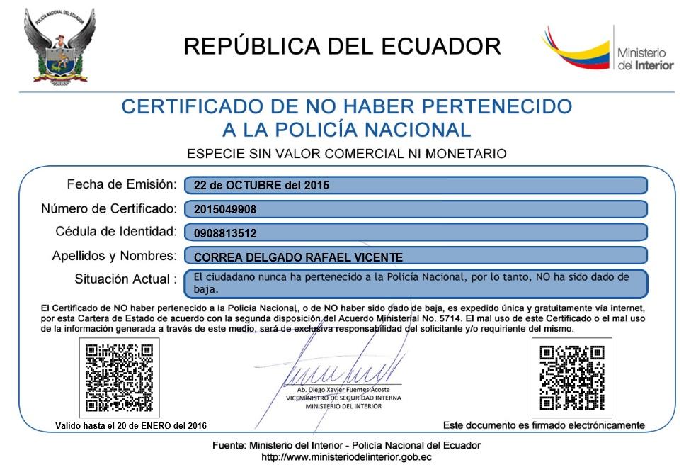 Certificado de no haber sido dado de baja de la polic a for Ministerio del interior policia nacional del ecuador