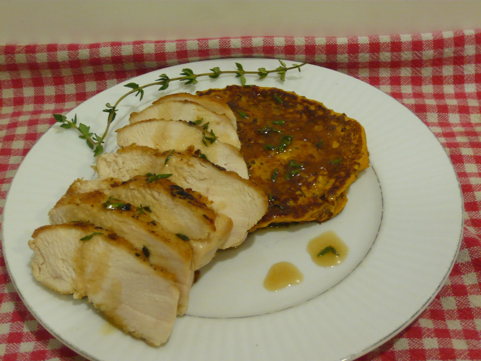 ... Seared Chicken Breast and Sweet Potato Red Quinoa Cakes with Thyme