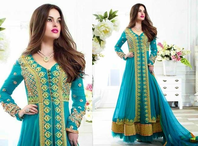 Teal Color Designer Wear Salwar Kameez