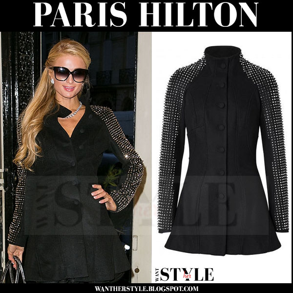 Paris Hilton in black coat with studded sleeves philipp plein winter fashion