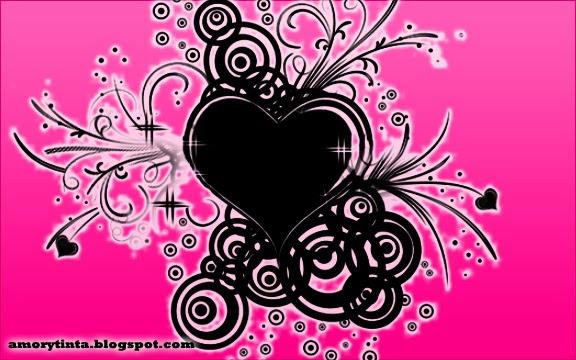 corazón negro con fondo rosado