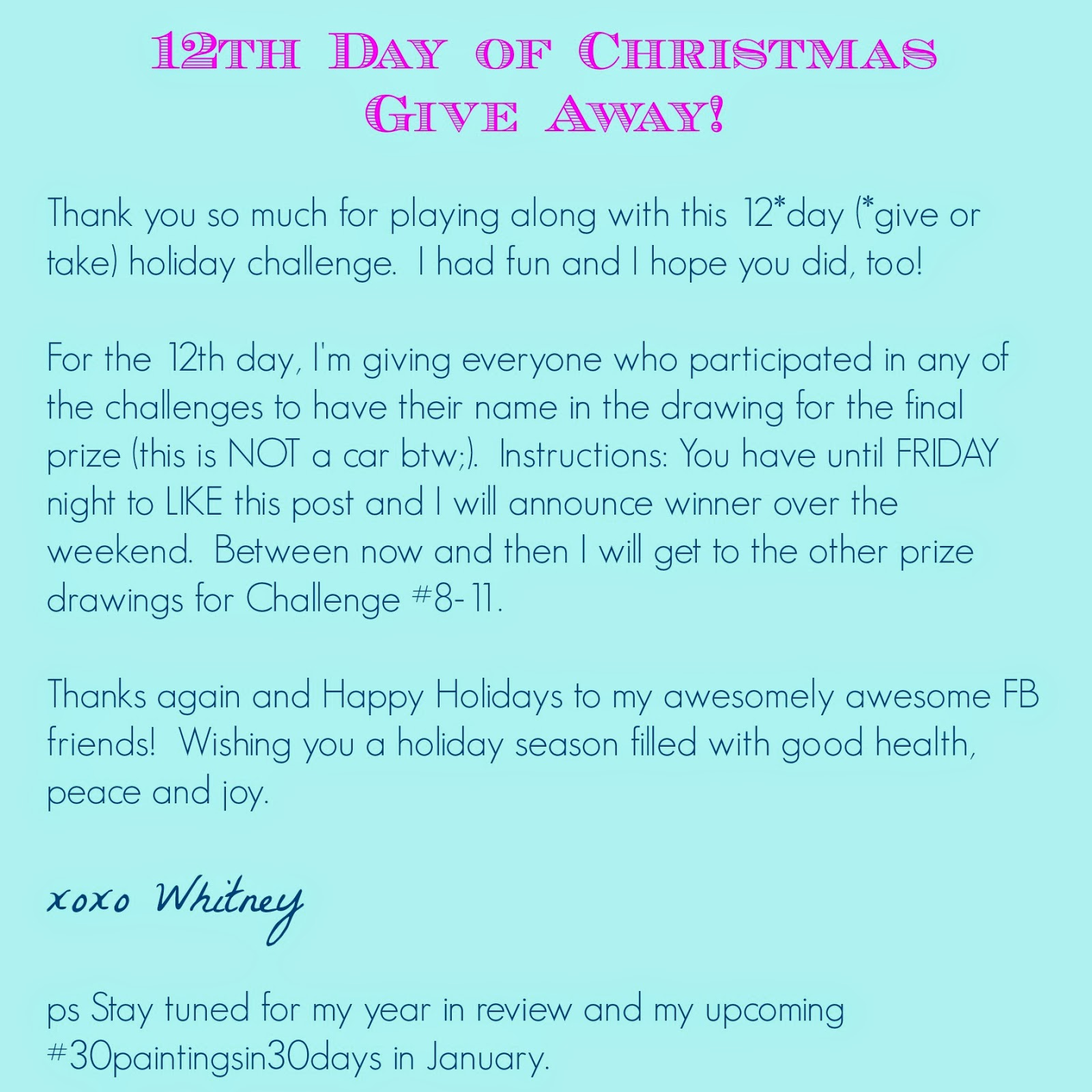 art contest holiday christmas 12 days of Christmas