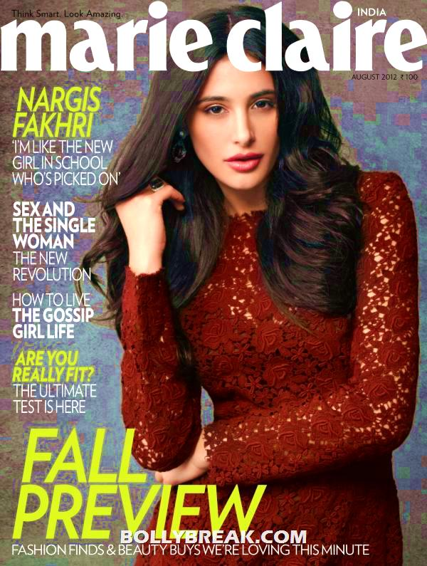 Nargis Fakhriin maroon red lace dressMarie Claire Magazine - Nargis Fakhri Marie Claire Magazine cover