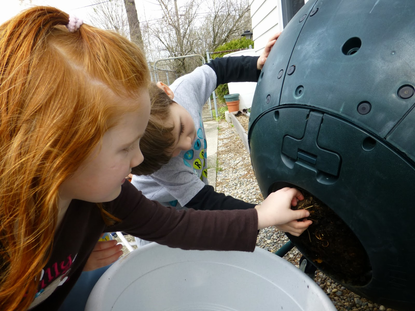 we have three systems this ball a bin made of pallets and a worm bin the ball is pretty and keeps all the bugs enclosed