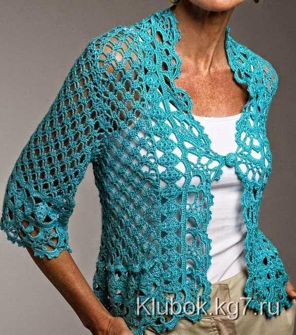 Bolero crochet botón en el frente y mangas medianas