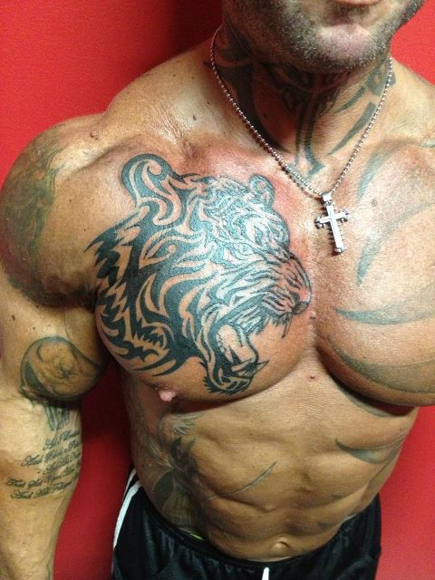 Tiger face chest tattoo - photo#5