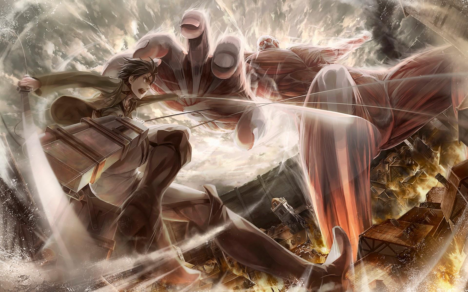Eren vs Colossal Titan 2k Wallpaper HD