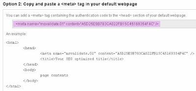 Meta Tag Bing