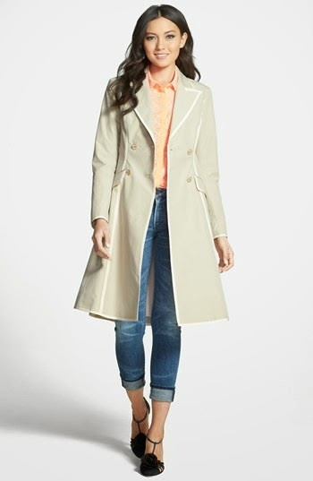 SJP 'Manhattan' Grosgrain Trim Skirted Trench Coat