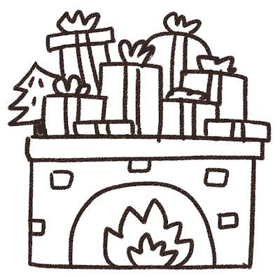 暖炉の上のクリスマスプレゼントのイラスト 白黒線画