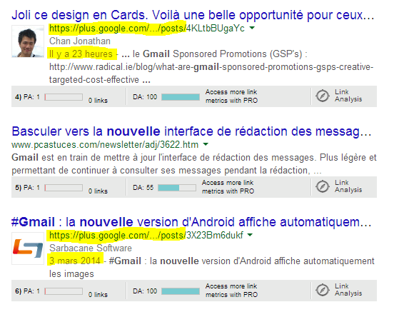 lien url partagee google plus versus post organique google - tendance webmarketing par Christophe Vieira