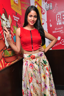 Lavanya Tripathy in a lovely Sleevless Red Half Tank Top and FLower Print Long Skirt Spicy Pics