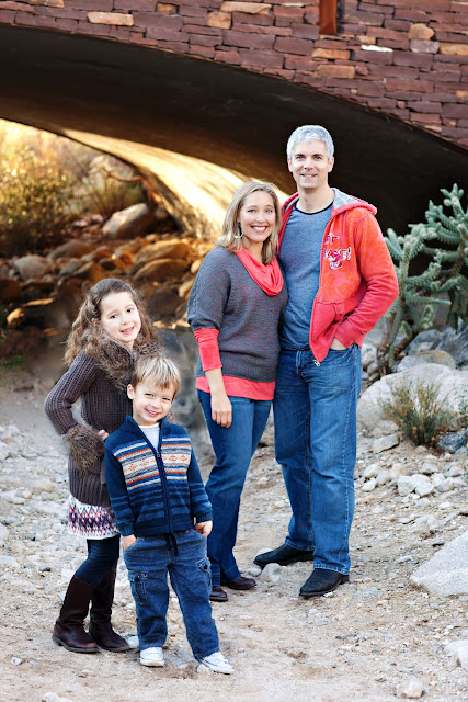 Family poses during session at a Tucson desert