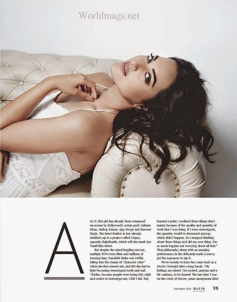 Sonakshi Stunning Photoshoot For Maxim Magazine India December 2014