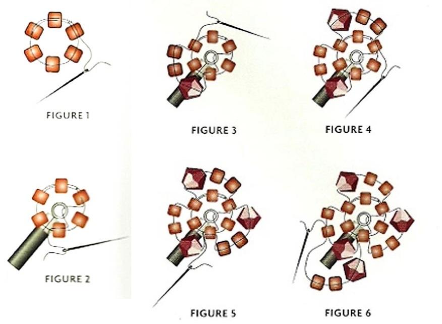 2. Теперь руководствуясь схемой 1, начинаем плетение жгута из бисера. .  Наберите 6 цилиндрических...