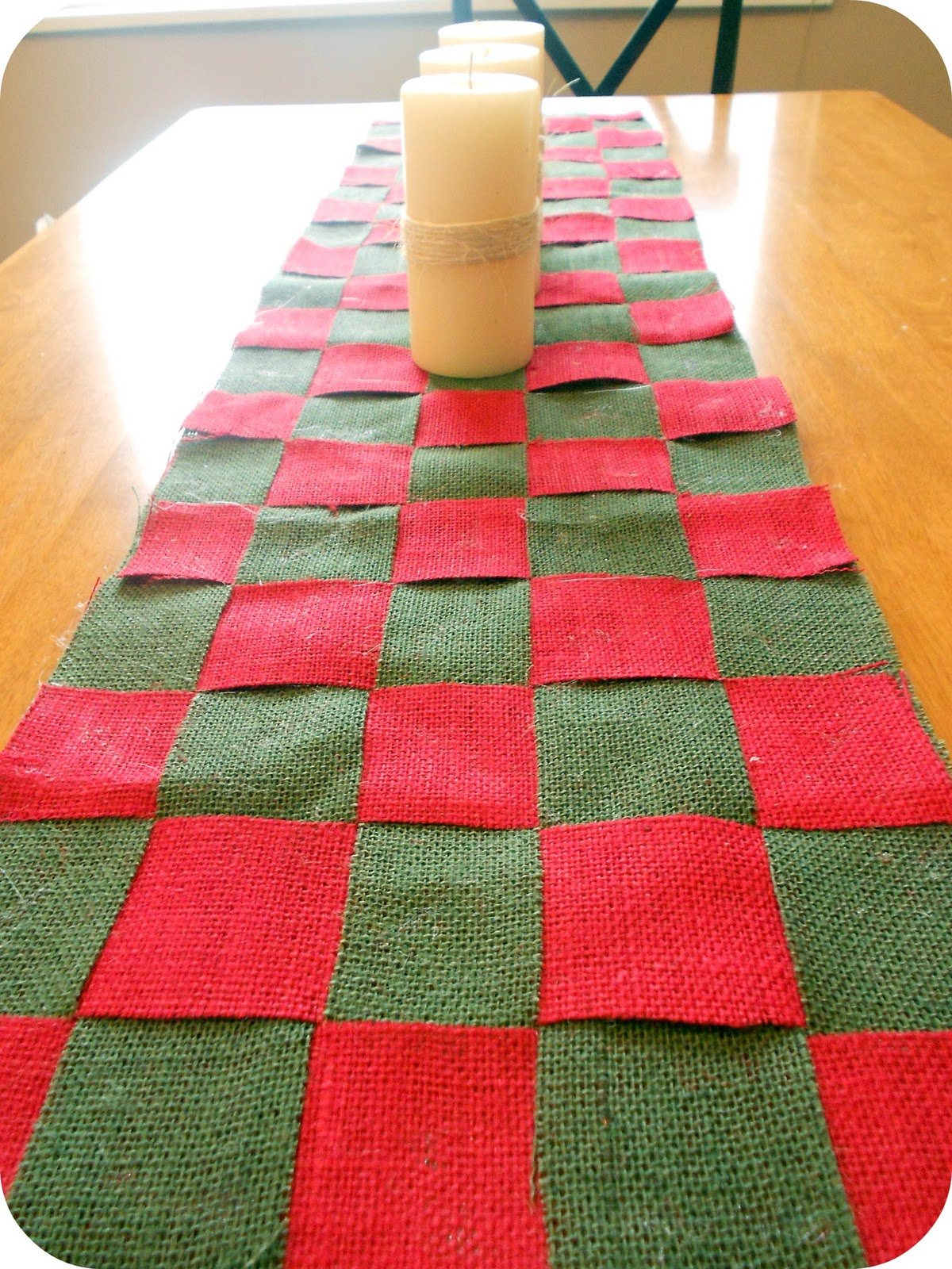 Christmas Burlap Checkered Table Runner Tutorial Six