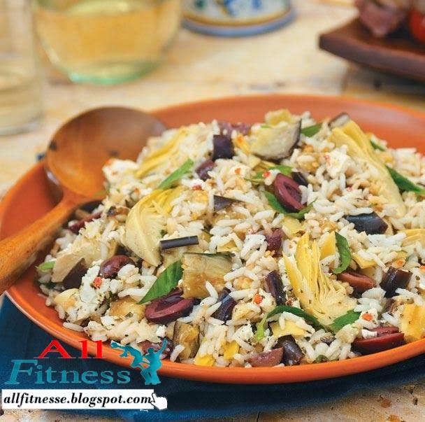 Mediterranean Eggplant, Artichoke, and Feta Rice Salad
