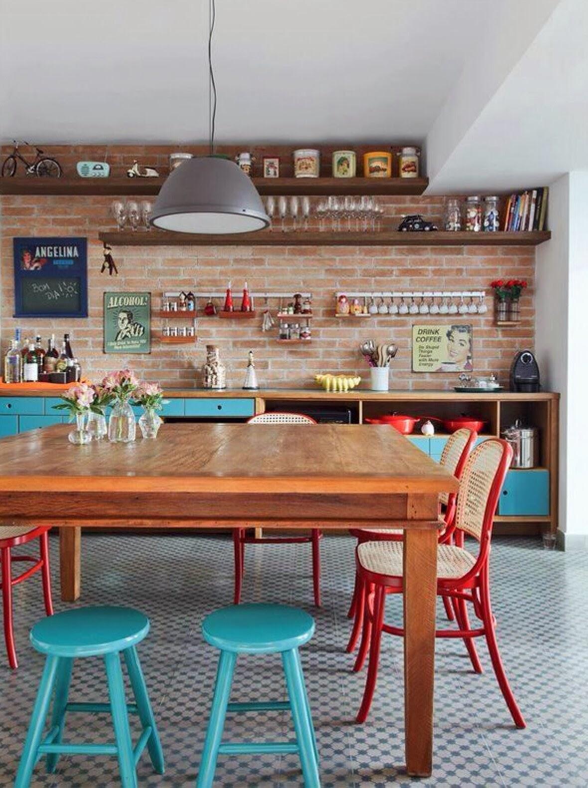 decorar cozinha rustica:Materiales: Paredes de ladrillo / Piso de losetas o mosaicos