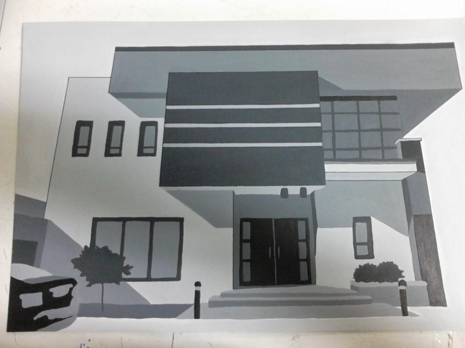 Teoria del color examen ordinario fachada pintada en for Casas pintadas de gris