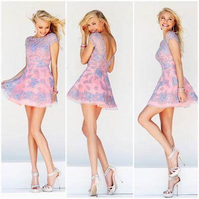 Къса абитуриентска рокля в два цвята Sherri Hill 2014