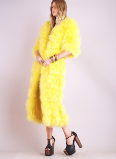 Vintage 1950's bright yellow ostrich feather maxi coat.