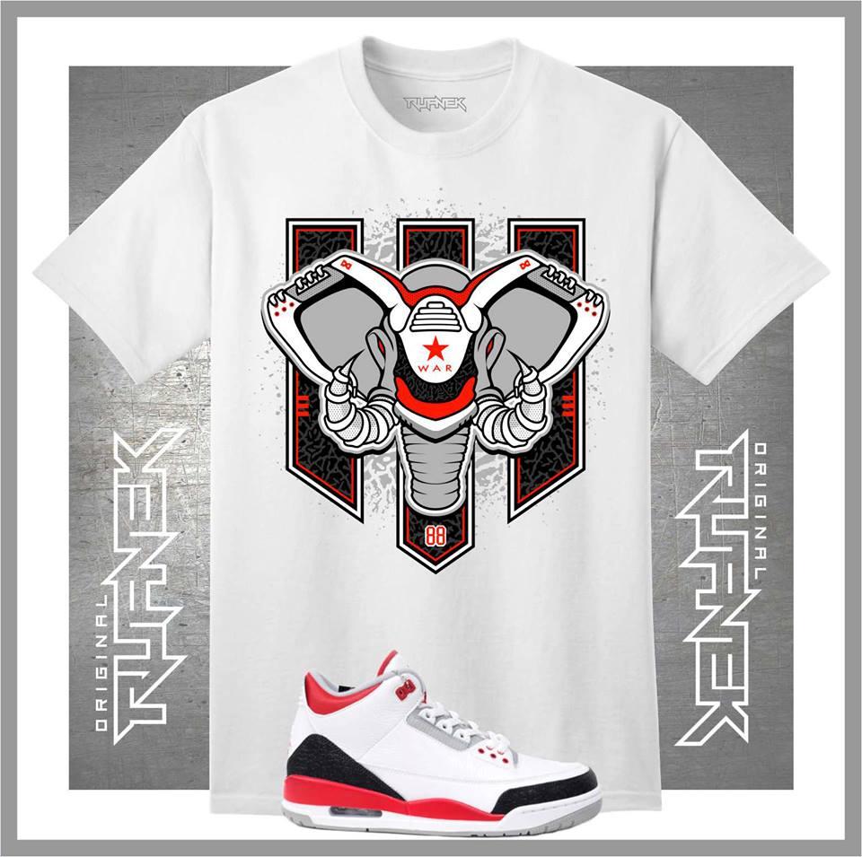 Air jordan retro 3 fire red shoes original rufnek t for Kicks on fire t shirt