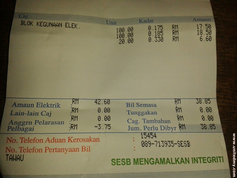 SESB electricity bill 2014